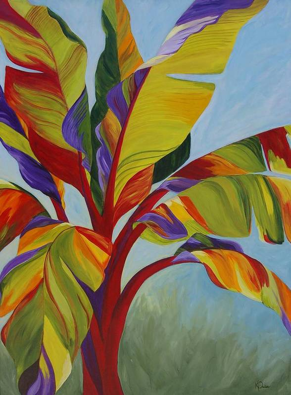 Abstract Poster featuring the painting Tropical Mist by Karen Dukes