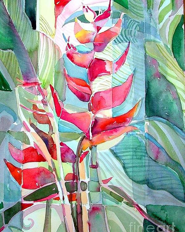 Landscape Poster featuring the painting Tropicana Red by Mindy Newman