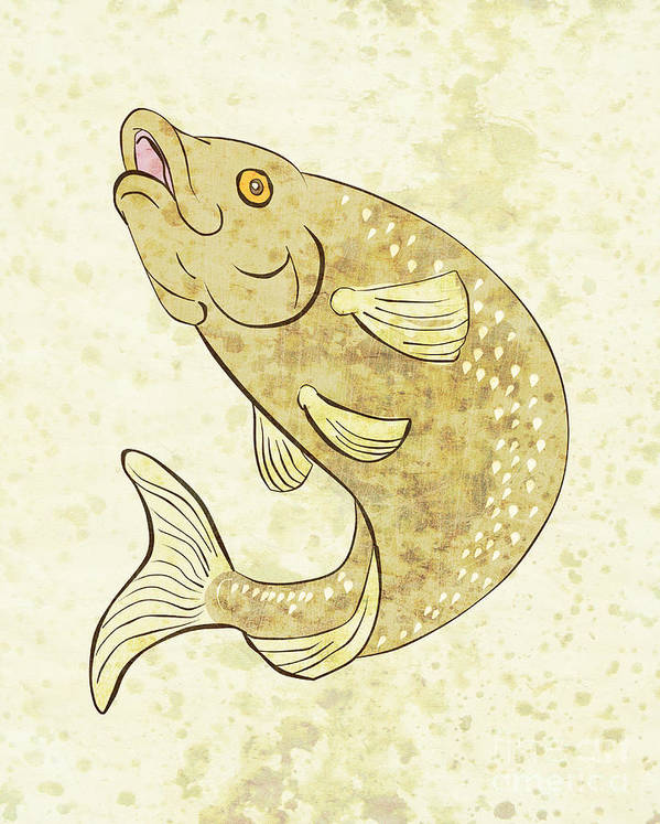 Trout Poster featuring the digital art Trout Fish Jumping by Aloysius Patrimonio