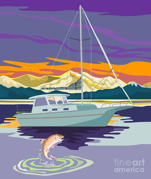 Trout Poster featuring the digital art Trout Jumping Boat by Aloysius Patrimonio
