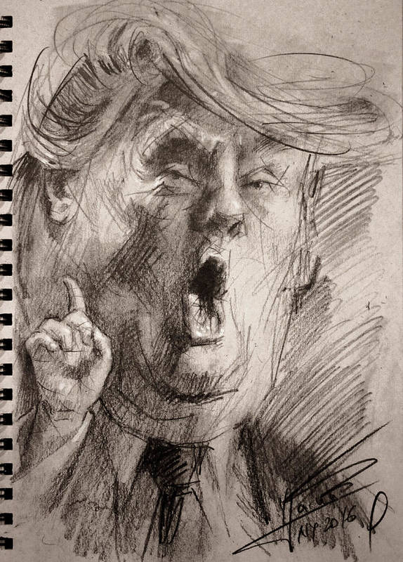 Trump Poster featuring the painting Trump A Dengerous A-hole by Ylli Haruni
