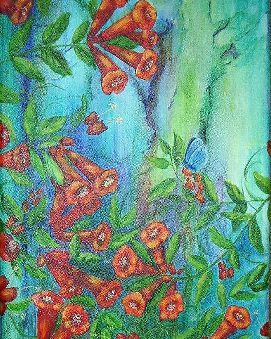 Trumpet Poster featuring the painting Trumpet Vine With Butterfly by Sheri Hubbard