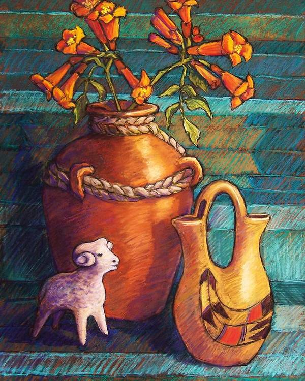 Still Life Poster featuring the pastel Trumpet Vines And Pottery by Candy Mayer