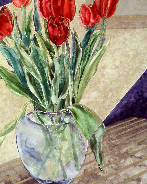 Watercolor Poster featuring the painting Tulip Bouquet - 11 by Caron Sloan Zuger