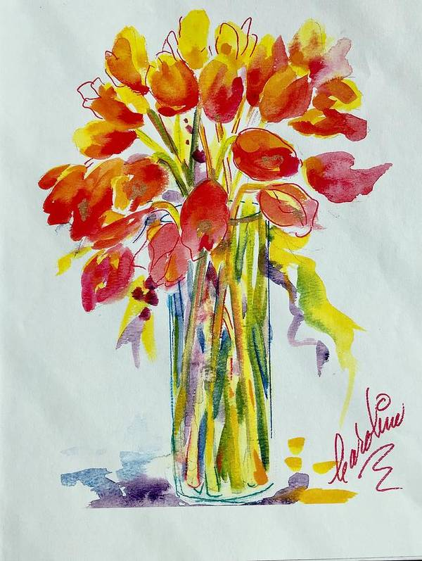 Red Tulips Poster featuring the painting Tulip Fire Element by Caroline Patrick