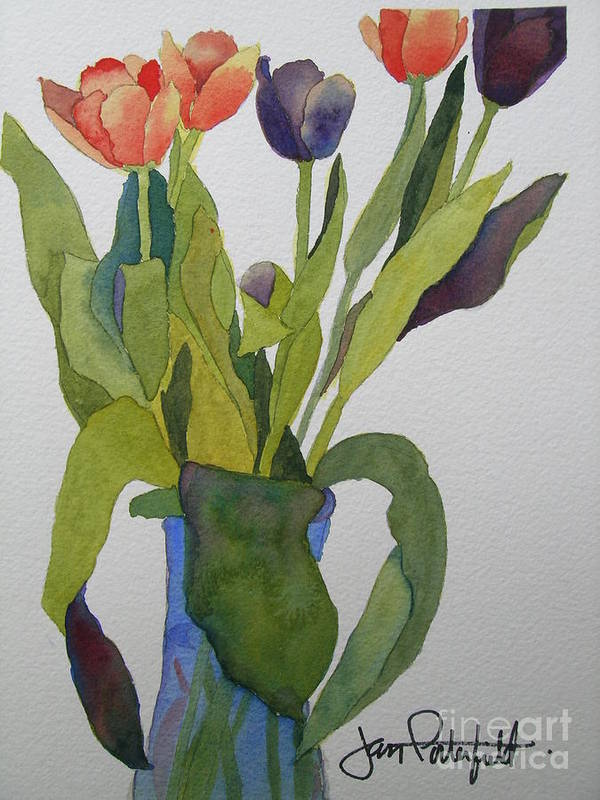Tulip Poster featuring the painting Tulips In Blue Vase by Jeff Friedman