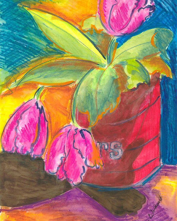 Flowers Poster featuring the painting Tulips In Can by Jean Blackmer