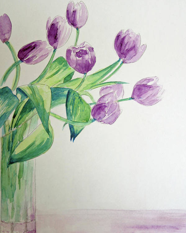 Flowers Poster featuring the painting Tulips In Purple by Julie Lueders