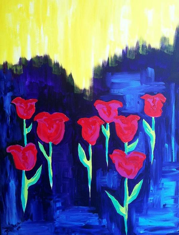 Tulips; Red And Pink Tulips With Green Stems; Purple Poster featuring the painting Tulips Of My Heart by Meghan Gallagher