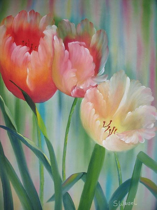 Floral Flower Tulip Exotic Green Red Orange Peach Yellow Holland Poster featuring the painting Tulips by Sherry Winkler