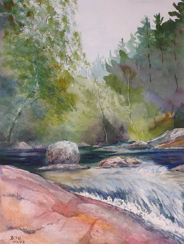 Water Poster featuring the painting Tumbling Waters by Debbie Homewood