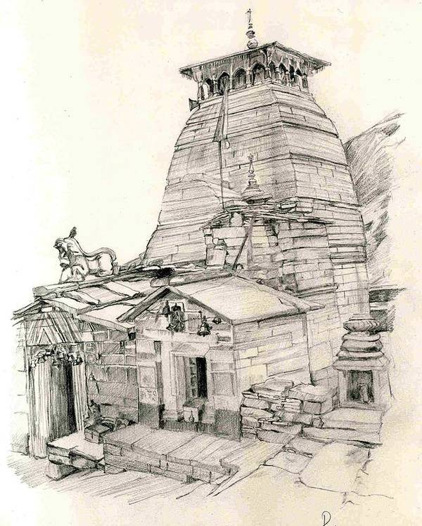 Landscape Poster featuring the painting Tungnath by Padamvir Singh