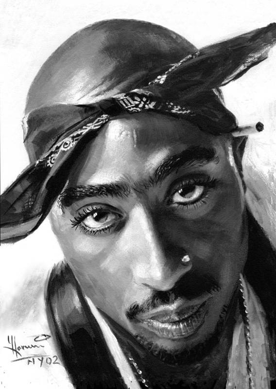 Tupac Shakur Poster featuring the painting Tupac Shakur by Ylli Haruni