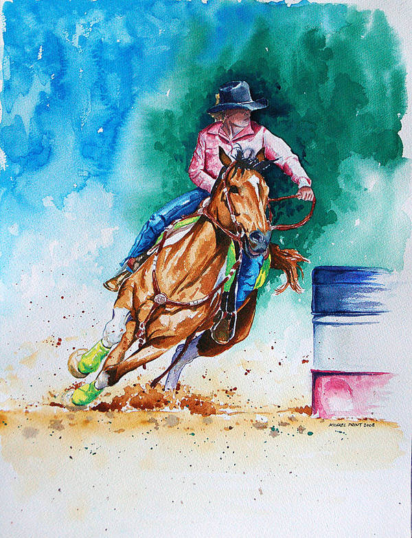 Barrel Racing Poster featuring the painting Turn And Burn by Michael Prout