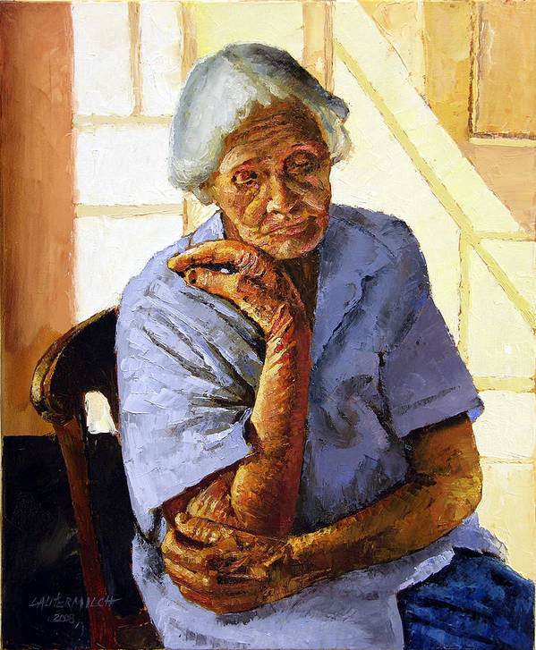 Old Woman Poster featuring the painting Turning Inward by John Lautermilch