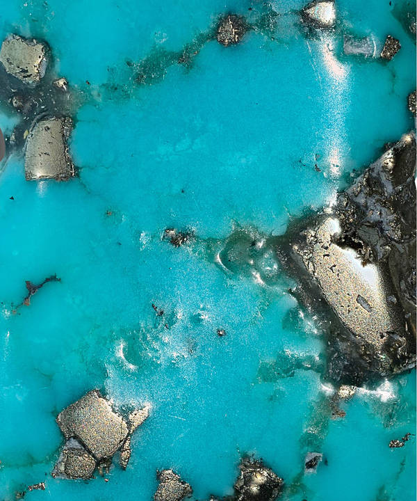 Turquoise With Gold Veining And Deposits Poster featuring the photograph Turquoise And Gold by The Quarry