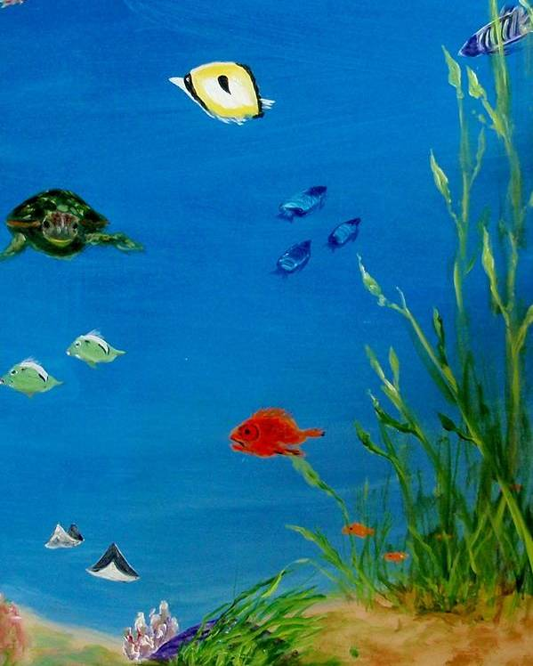 Water Poster featuring the painting Turtle And Friends by Jamie Frier