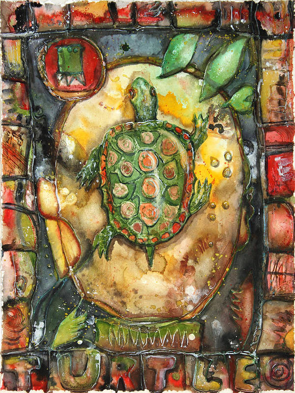 Art Poster featuring the painting Turtle by Patricia Allingham Carlson