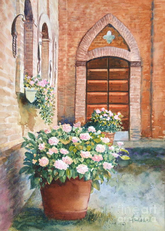 Tuscan Poster featuring the painting Tuscan Courtyard by Ann Cockerill