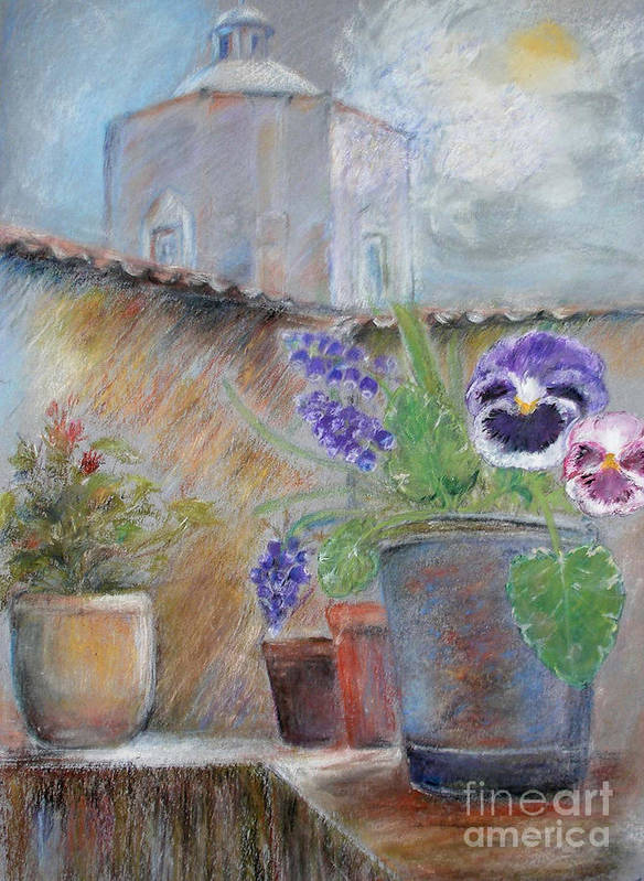 Pastels Poster featuring the painting Tuscan Courtyard by Sibby S
