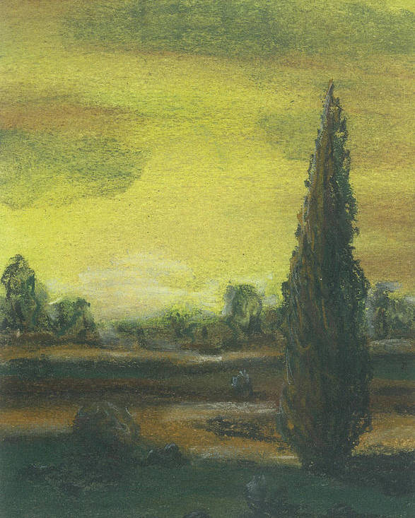 Tuscan Poster featuring the pastel Tuscan Dusk 1 by Shelby Kube
