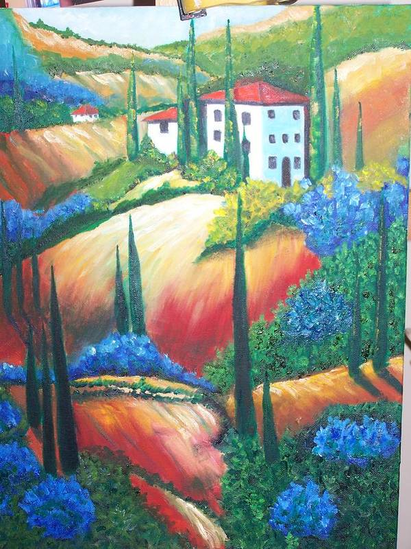 Landscape Poster featuring the painting Tuscan Hills by Charles Vaughn