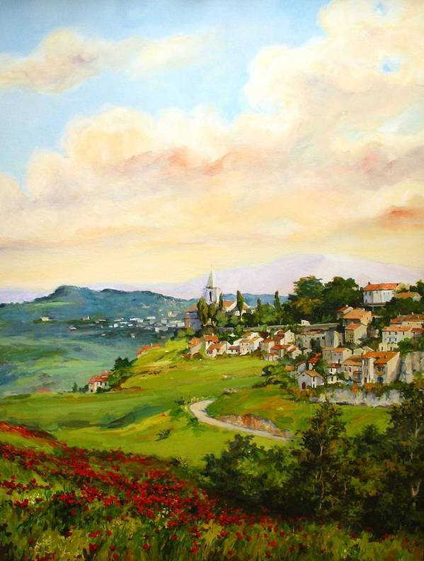 Tuscan Poster featuring the painting Tuscan Landscape by Tigran Ghulyan
