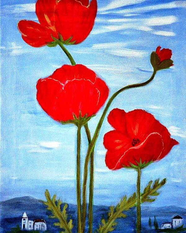 Flowers Poster featuring the painting Tuscan Poppies by Lia Marsman