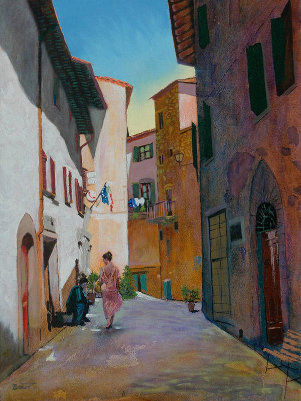 Tuscany Poster featuring the painting Tuscan Street by Robert Bissett