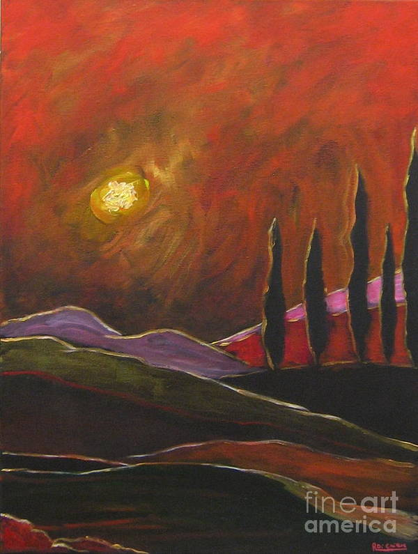 Angelica Dichiara Poster featuring the painting Tuscan Sunset Rage by Italian Art