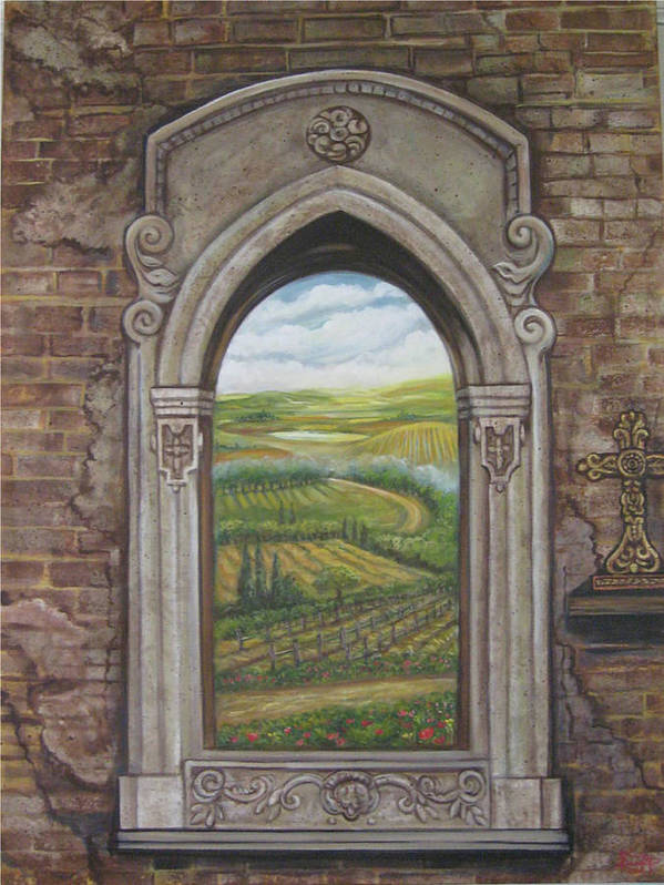 Window Poster featuring the painting Tuscan View by Diann Baggett