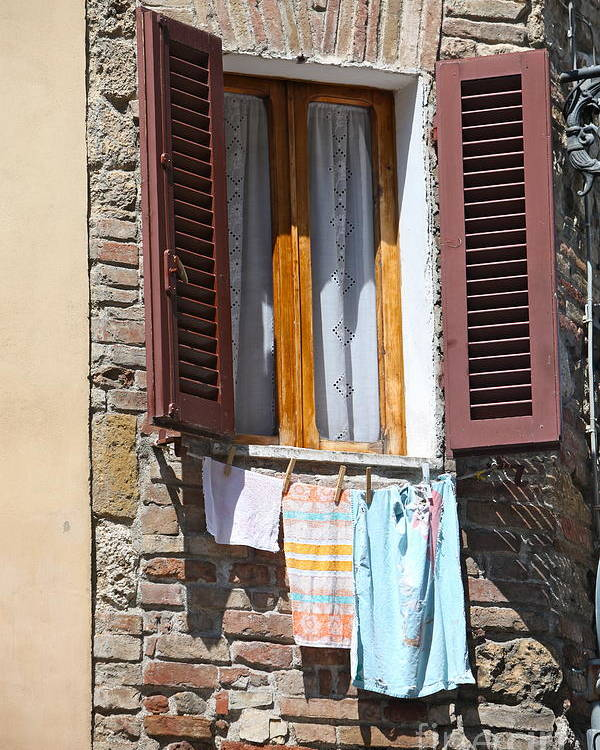 Tuscany Poster featuring the photograph Tuscan Window And Laundry by Nadine Rippelmeyer