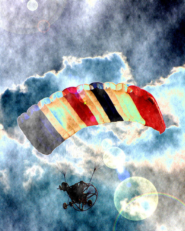 Kite Plane Poster featuring the photograph Twenty-first Century Icarus by Roger Soule