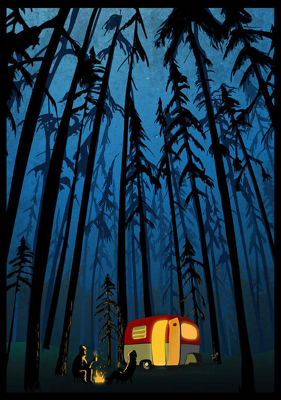 Camper In The Woods Poster featuring the painting Twilight Camping by Sassan Filsoof