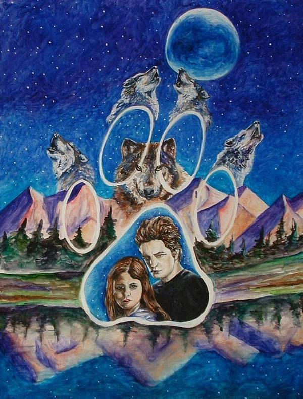 Twilight Movie Poster featuring the painting Twilight Imprinting by Andrea Darlington