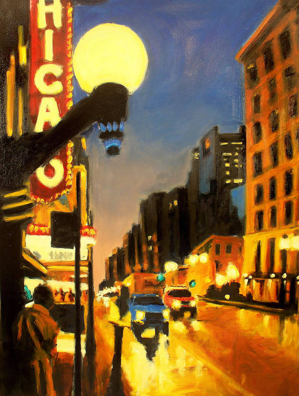 Rob Reeves Poster featuring the painting Twilight In Chicago - The Watcher by Robert Reeves