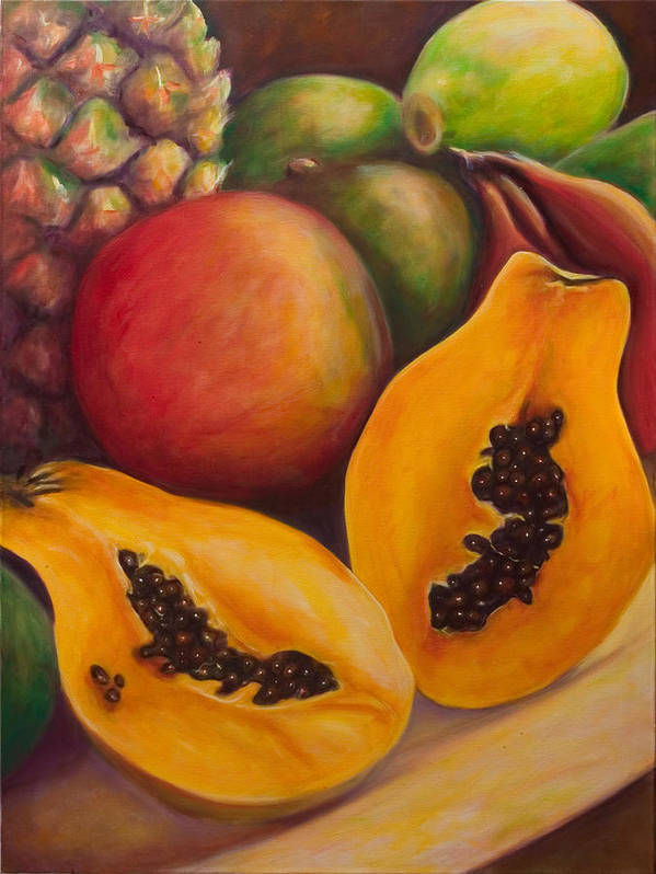 Papaya Poster featuring the painting Twins by Shannon Grissom