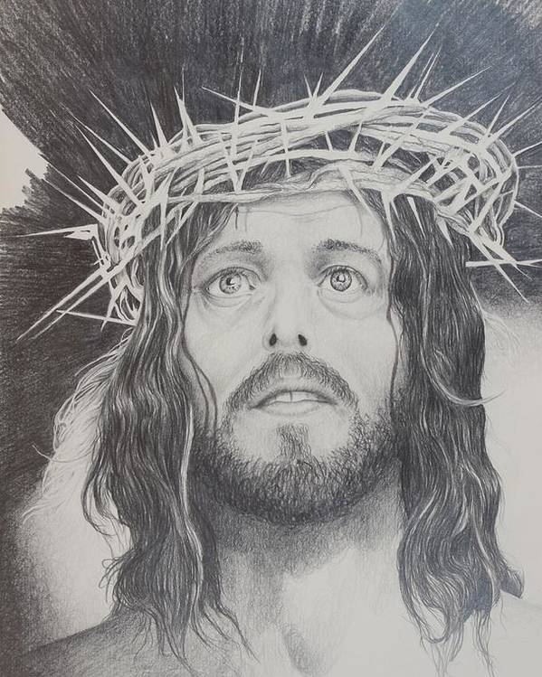 Jesus Poster featuring the drawing Twisted Crown by Rick Ahlvers