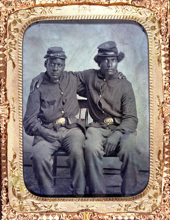 1860s Poster featuring the photograph Two African American Soldiers Wearing by Everett