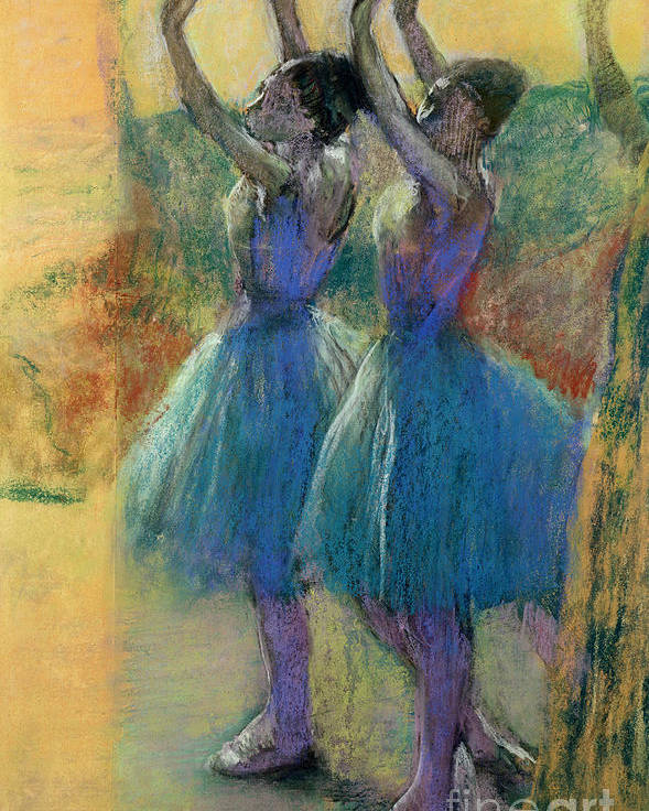 Two Blue Dancers (pastel On Paper) By Edgar Degas (1834-1917) Poster featuring the pastel Two Blue Dancers by Edgar Degas