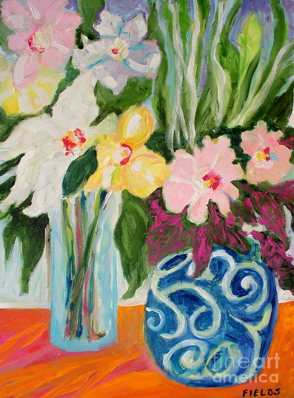 Poster featuring the painting Two Blue Vases by Karen Fields