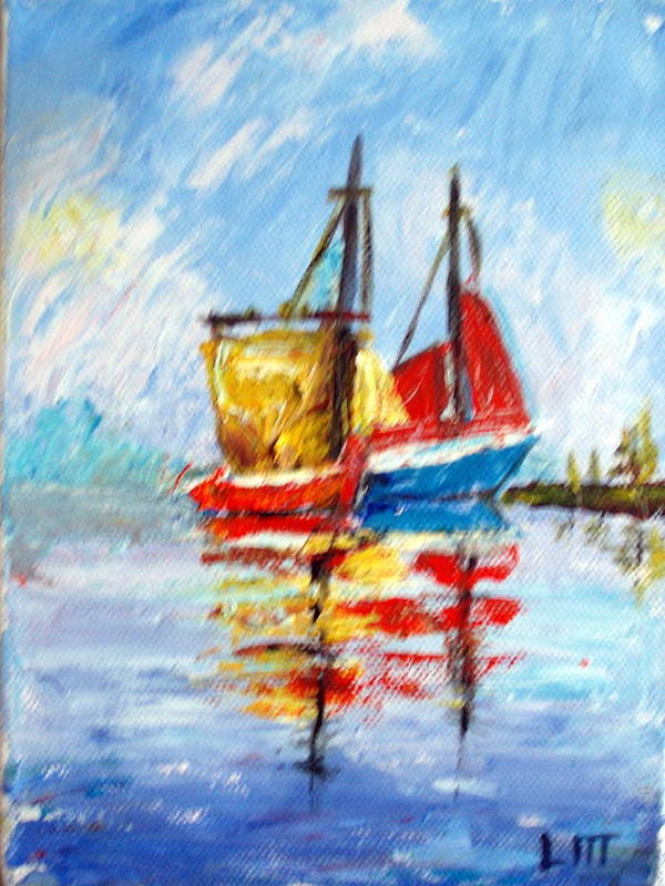 Water Poster featuring the painting Two Boats by Lia Marsman
