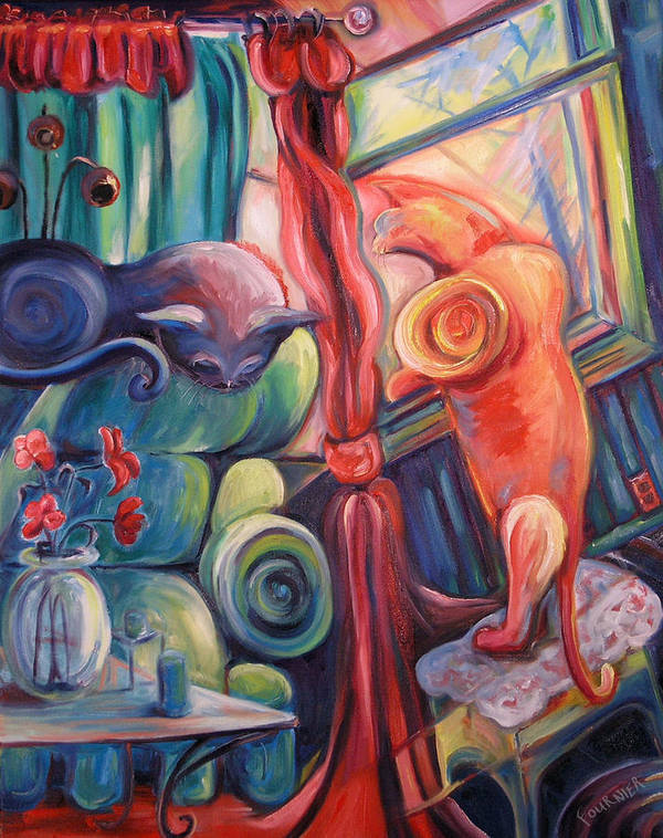 Cats Poster featuring the painting Two Cats by Jenna Fournier