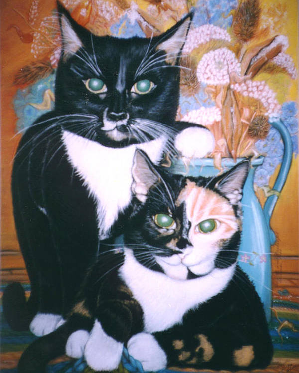 Cats Poster featuring the painting Two Cats by Winifred Ann Weishampel