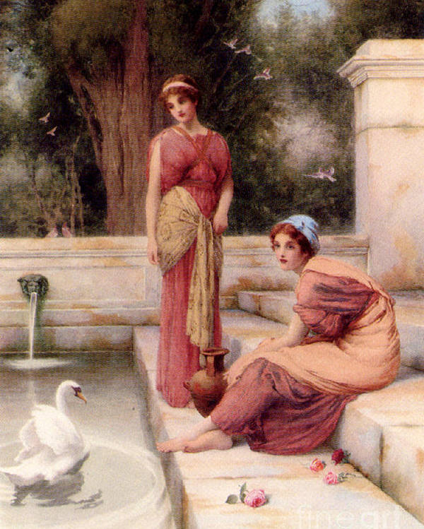 Henry Ryland - Two Classical Maidens And A Swan Poster featuring the painting Two Classical Maidens And A Swan by MotionAge Designs