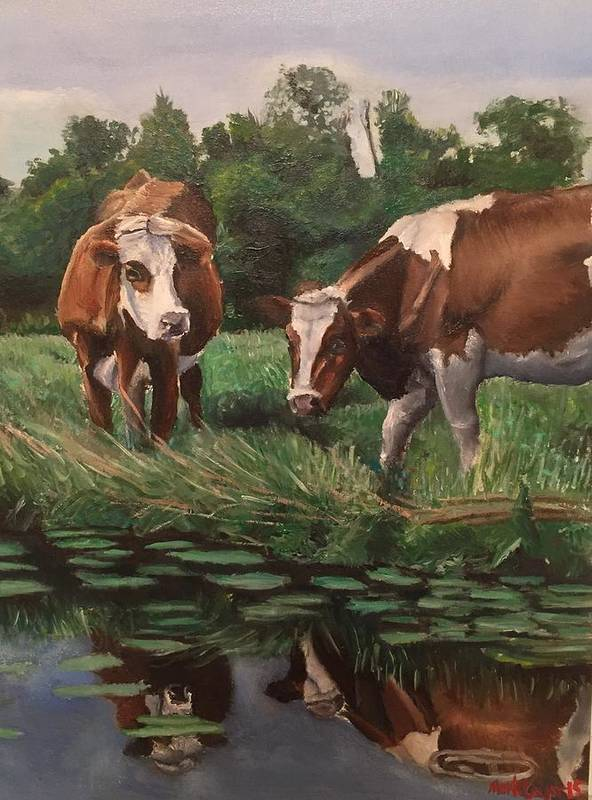 Landscape Poster featuring the painting Two Cows By A Pond by Mark Crum