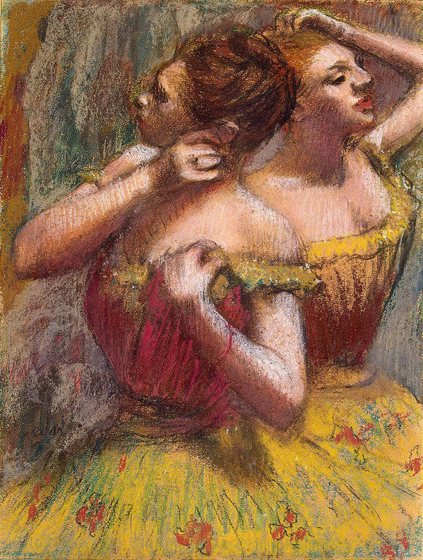 Two Dancers (pastel On Paper) By Edgar Degas (1834-1917) Poster featuring the pastel Two Dancers by Edgar Degas