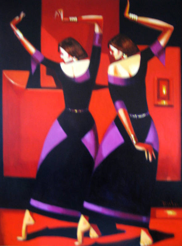 Figure Poster featuring the painting Two Dancers With Candlelight by Ihab Bishai