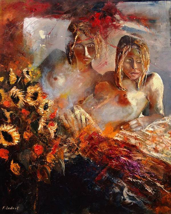 Girl Nude Poster featuring the painting Two Friends by Pol Ledent