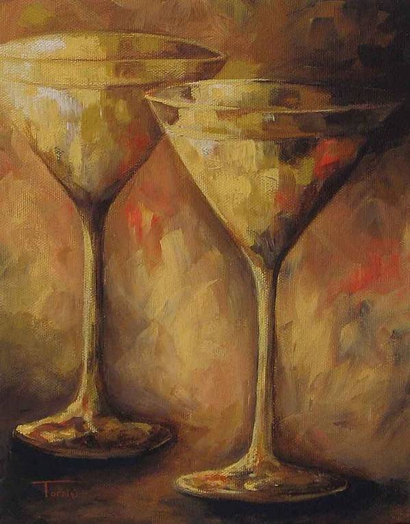 Martini Poster featuring the painting Two Golden Martinis by Torrie Smiley